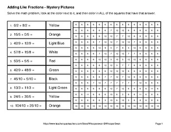 Easter Math: Adding Like Fractions - Color-By-Number Mystery Pictures