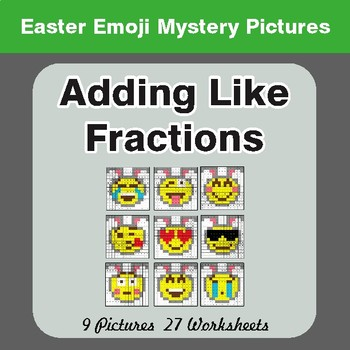 Easter Math: Adding Like Fractions - Color-By-Number Math Mystery Pictures