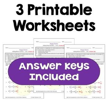 Easter Math: Adding Mixed Numbers Worksheets (Differentiated with 3 Levels)