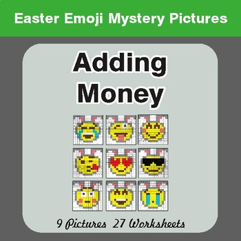 Easter Math: Adding Money - Color-By-Number Math Mystery Pictures