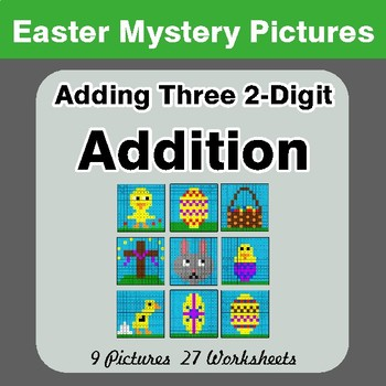 Easter Math: Adding Three 2-digit Addition - Color-By-Number Math Mystery Pictures