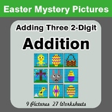 Easter: Adding Three 2-digit Addition - Color-By-Number Math Mystery Pictures