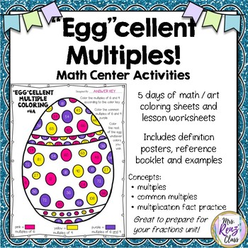 Easter Math Coloring Multiples - Easter Coloring Math Center -Week of Activities