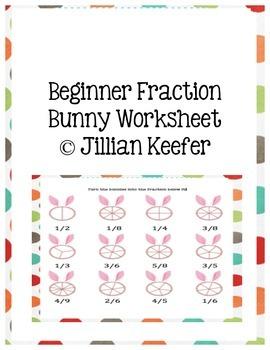 Easter Math: Beginner Bunny Fraction Worksheet
