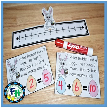Easter Math Center {Hop to Add or Subtract}