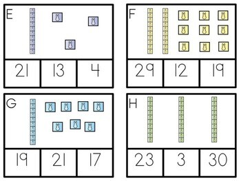 Easter Math Center - Place Value Clip Cards