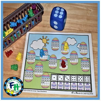 Easter Math Center {Roll & Cover Teen Numbers}