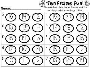 Easter Math Center - Ten Frame Fun - Teen Numbers