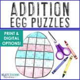 ADDITION Egg Puzzles | Easter Math Centers, Activities, or