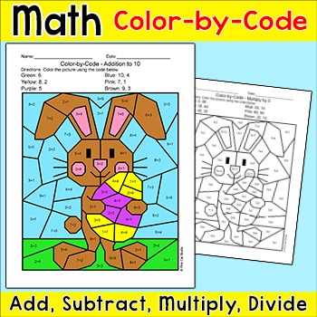 Easter Math Color by Number Activity - Easter Bunny by Pink Cat Studio