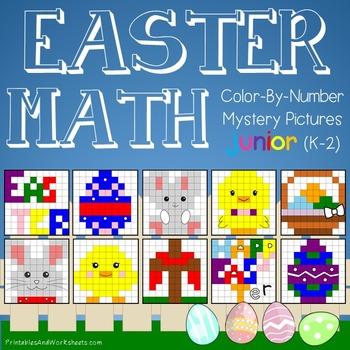 Easter Math Color-By-Number Bundle - Easter Math Worksheets for K-2