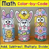 Easter Math Color by Number 3D Characters - Easter Activities
