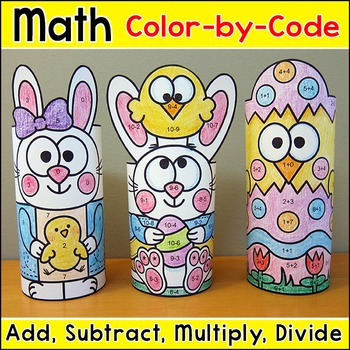 Easter Math Color by Number 3D Characters: Add, Subtract,
