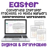 Easter Math: Improper Fractions to Mixed Numbers Worksheets (3 Levels)
