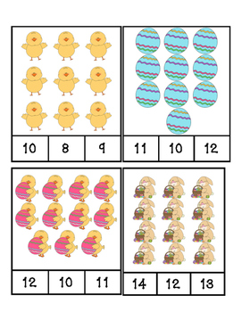 Easter - Math - Count and Clip Cards #1-24