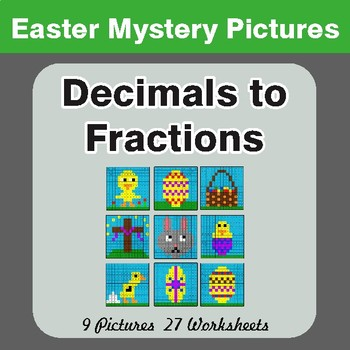 Easter Math: Decimals To Fractions - Color-By-Number Math Mystery Pictures