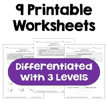 Easter Decimal Worksheet Bundle (Differentiated with 3 Levels)