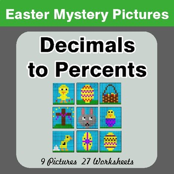 Easter Math: Decimals to Percents - Color-By-Number Math Mystery Pictures