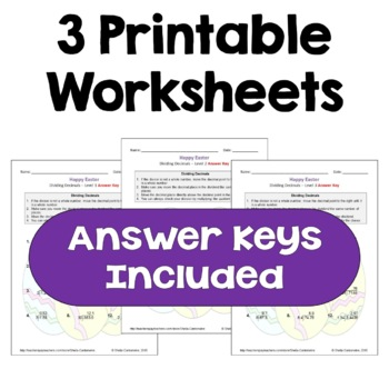 Easter Math: Dividing Decimals Worksheets (Differentiated with 3 Levels)