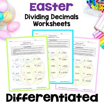 Easter Math: Dividing Decimals Worksheets (3 Levels)