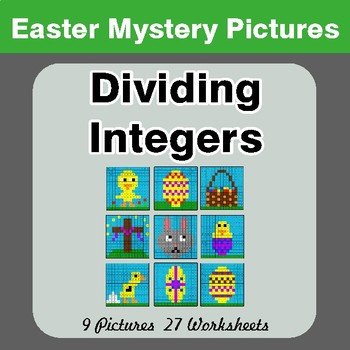Easter Math: Dividing Integers - Color-By-Number Mystery Pictures