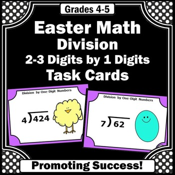 Division Task Cards, Easter Math Activities, 4th Grade Math Review SCOOT