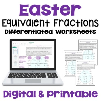 Easter Math: Equivalent Fractions Worksheets (3 Levels)
