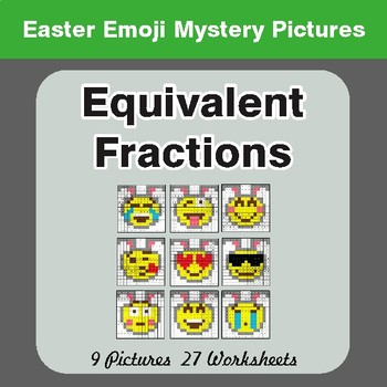 Easter Math: Equivalent Fractions - Color-By-Number Math Mystery Pictures