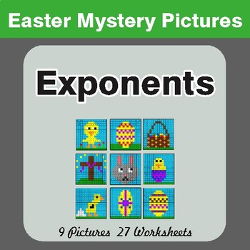 Easter Math: Exponents - Color-By-Number Math Mystery Pictures