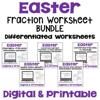 Easter Math: Fraction Worksheet Bundle (Differentiated with 3 Levels)