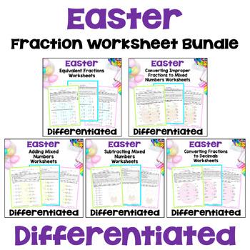 Easter Math: Fraction Worksheet Bundle (3 Levels)