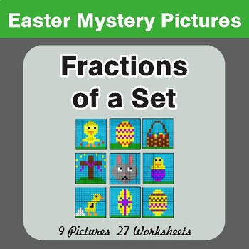 Easter Math: Fractions of a Set - Color-By-Number Math Mystery Pictures