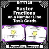 Easter Math Fractions on a Number Line 2nd 3rd Grade Task Cards Games