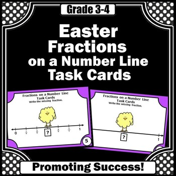 Easter Math Fractions on a Number Line 2nd 3rd Grade Task