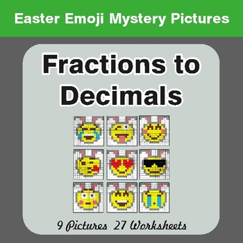 Easter Math: Fractions to Decimals - Color-By-Number Math Mystery Pictures