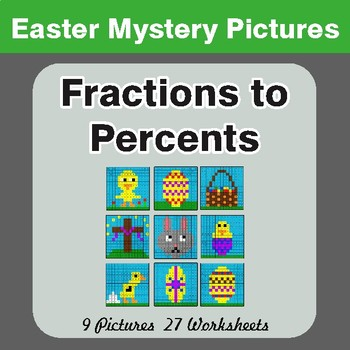 Easter Math: Fractions to Percents - Color-By-Number Mystery Pictures
