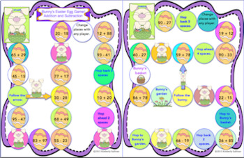 Easter Activities Math Game Early Finishers Addition and Subtraction Centers