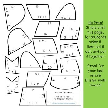 Easter Math Games | Spring Math Centers | FUN Addition Spring Activities
