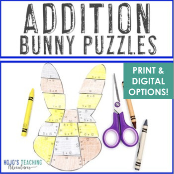 ADDITION Bunny Puzzles | Easter Math Stations, Centers, Games, or Activities