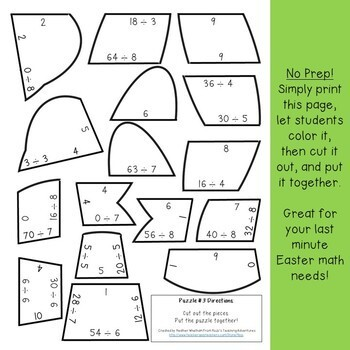 DIVISION Bunny Puzzles | Easter Worksheet Alternatives or Math Games