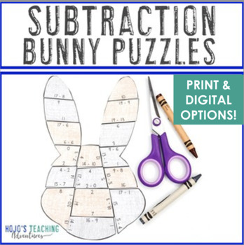 SUBTRACTION Bunny Puzzles | FUN Easter Worksheet Alternatives or Math Games