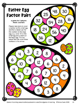 Easter Activities: Easter Math Games Fourth Grade