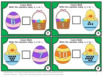 Comparing Numbers Task Cards, Easter Math Games, Greater Than Less Than