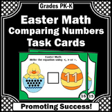 Comparing Numbers Task Cards, Kindergarten Easter Math Activities & Games