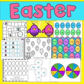Easter Math & Literacy Centers  (11 Centers for Kindergarten or 1st Grade)