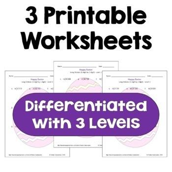 Easter Math: Long Division - 5 Digit by 2 Digit Worksheets (3 Levels)