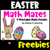 Free Easter Math Activities: Easter Math Mazes: Easter Math Worksheets