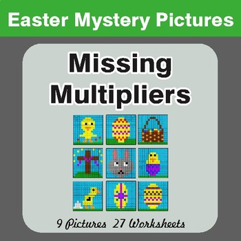 Easter Math: Missing Multipliers - Color-By-Number Mystery Pictures
