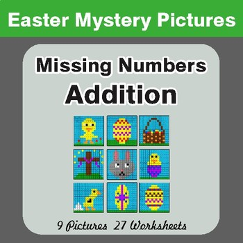 Easter Math: Missing Numbers Addition - Color-By-Number Math Mystery Pictures