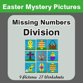 Easter Math: Missing Numbers Division - Color-By-Number Math Mystery Pictures